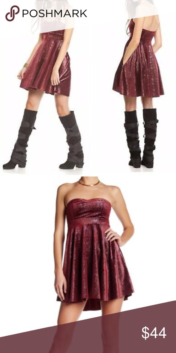 Free People Shattered Velvet Berry Mini Dress Strapless W// Removable Straps Sz M