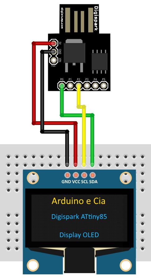 Digispark Attiny85 Com Display Oled I2c Arduino E Cia Arduino Circuito Gadget