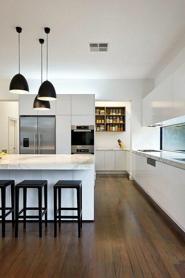 küche design weißes interieur schwarze akzente Interior Design - küche selber planen
