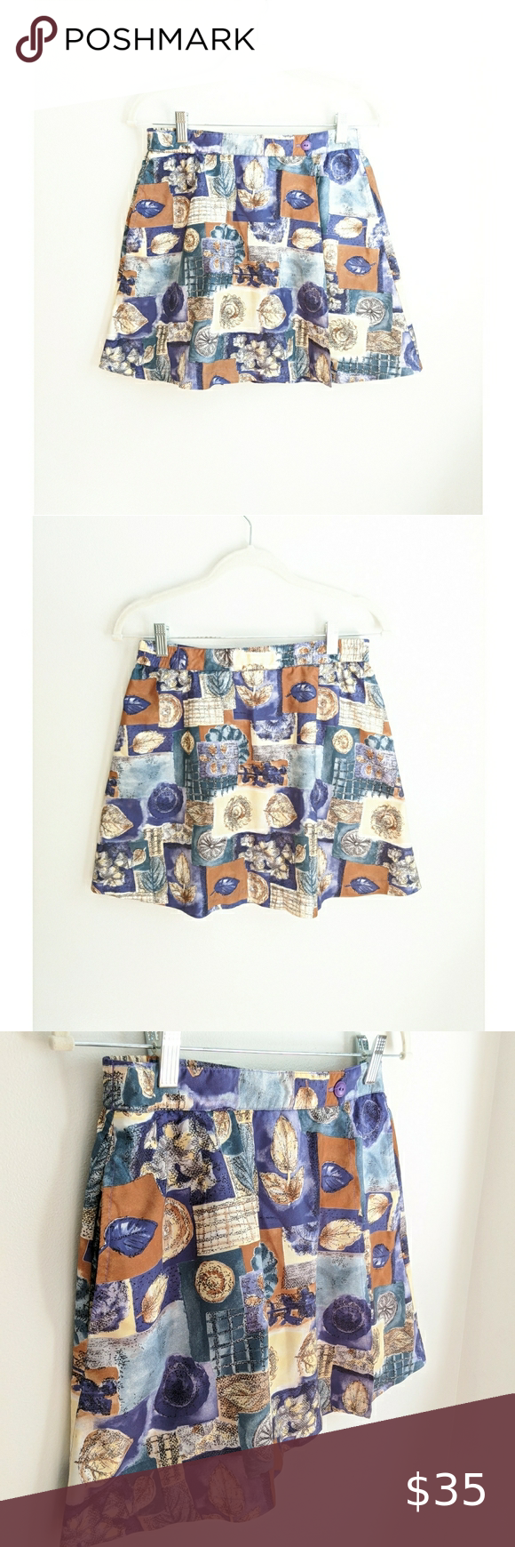 Vintage 80s90s Purple and White Floral Shorts