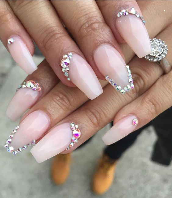 Acrylic Gel Nail Polish Designs Pink Ombre White Coffin Rhinestones Jewels Nail Jewels Acrylic Nail Designs Glitter Nails Design With Rhinestones