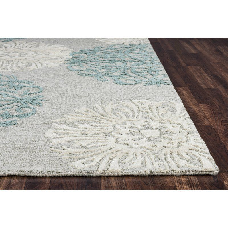 Brian Floral Handmade Tufted Wool Blue Tan Area Rug Rugs Blue Area Rugs Tufted