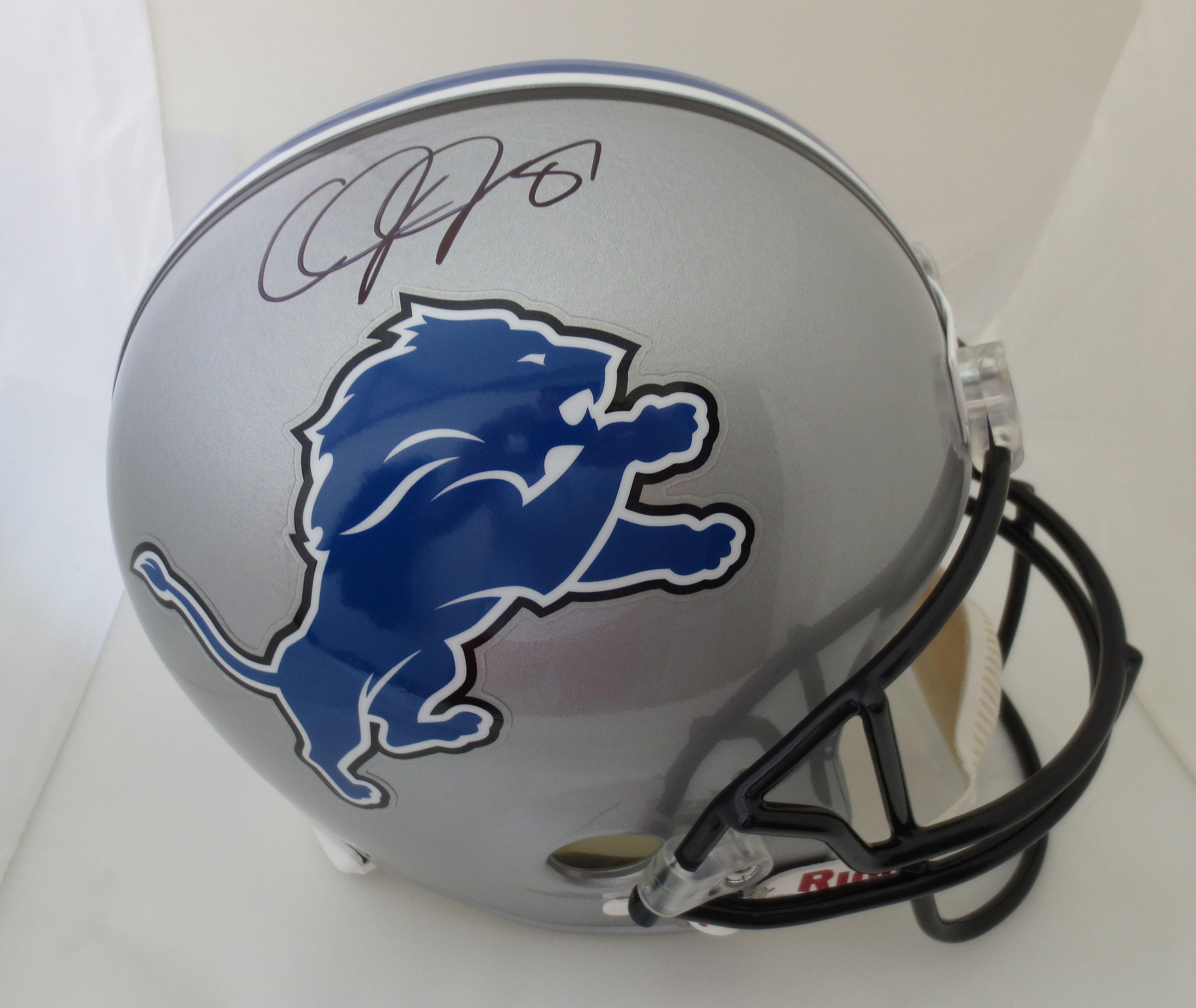 25ab2534372 Calvin Johnson Autographed Detroit Lions Full Size Helmet Calvin Johnson  Autographed Detroit Lions F signed autographed