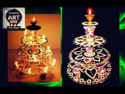 How to make diya stand diya stand decoration youtube for Diya decoration youtube