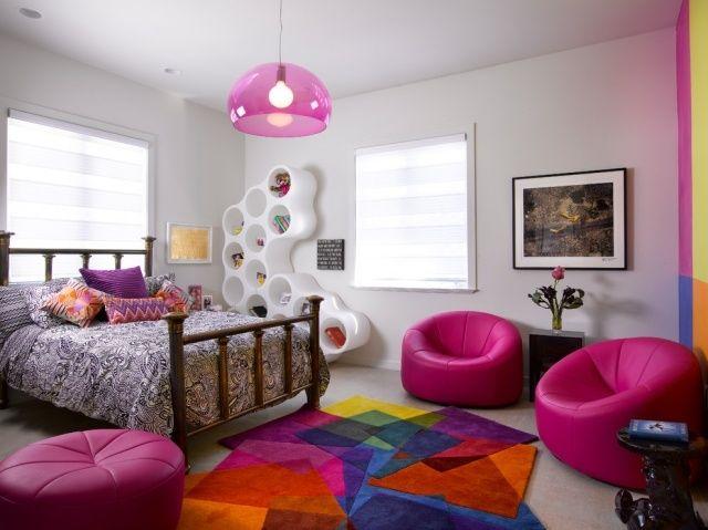 Jugendzimmer Mädchen Ideen Bunter Teppich Fuchsia Sessel Modernes  Regalsystem Kinderzimmer Gestalten, Kinderzimmer Einrichten, Schlafzimmer
