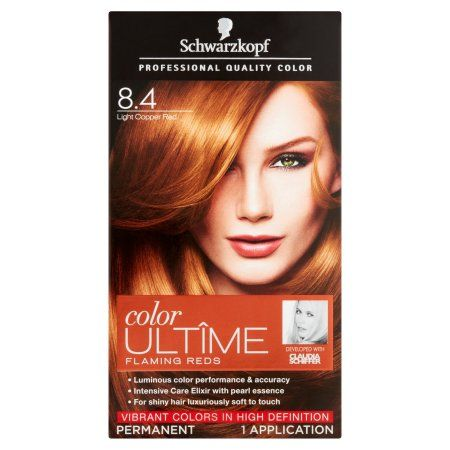 263cebcef2 Free 2-day shipping on qualified orders over $35. Buy Schwarzkopf Color  Ultime Permanent Hair Color Cream, 8.4 Light Copper Red at Walmart.com