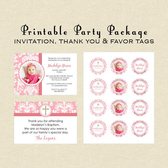 Items Similar To Printable Party Package Baptism Christening Dedication Includes Invitation Thank You Note Party Printables Party Packages Christening
