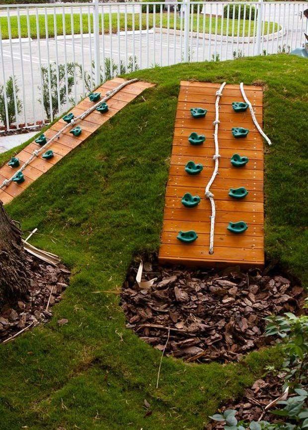 You Can Set Up A Climbing Wall If You Happen To Have A Slope Yard Garten Spielplatz Kinderspielplatz Garten Garten Design