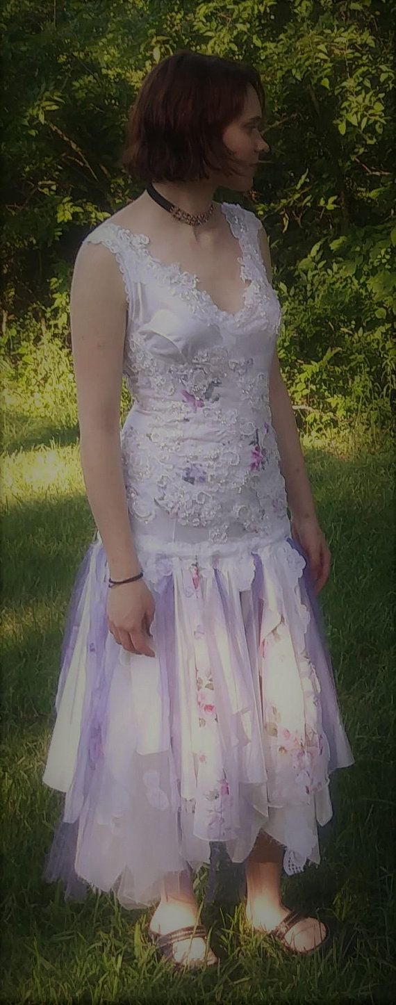 Vintage inspired flapper wedding dress us style drop tattered