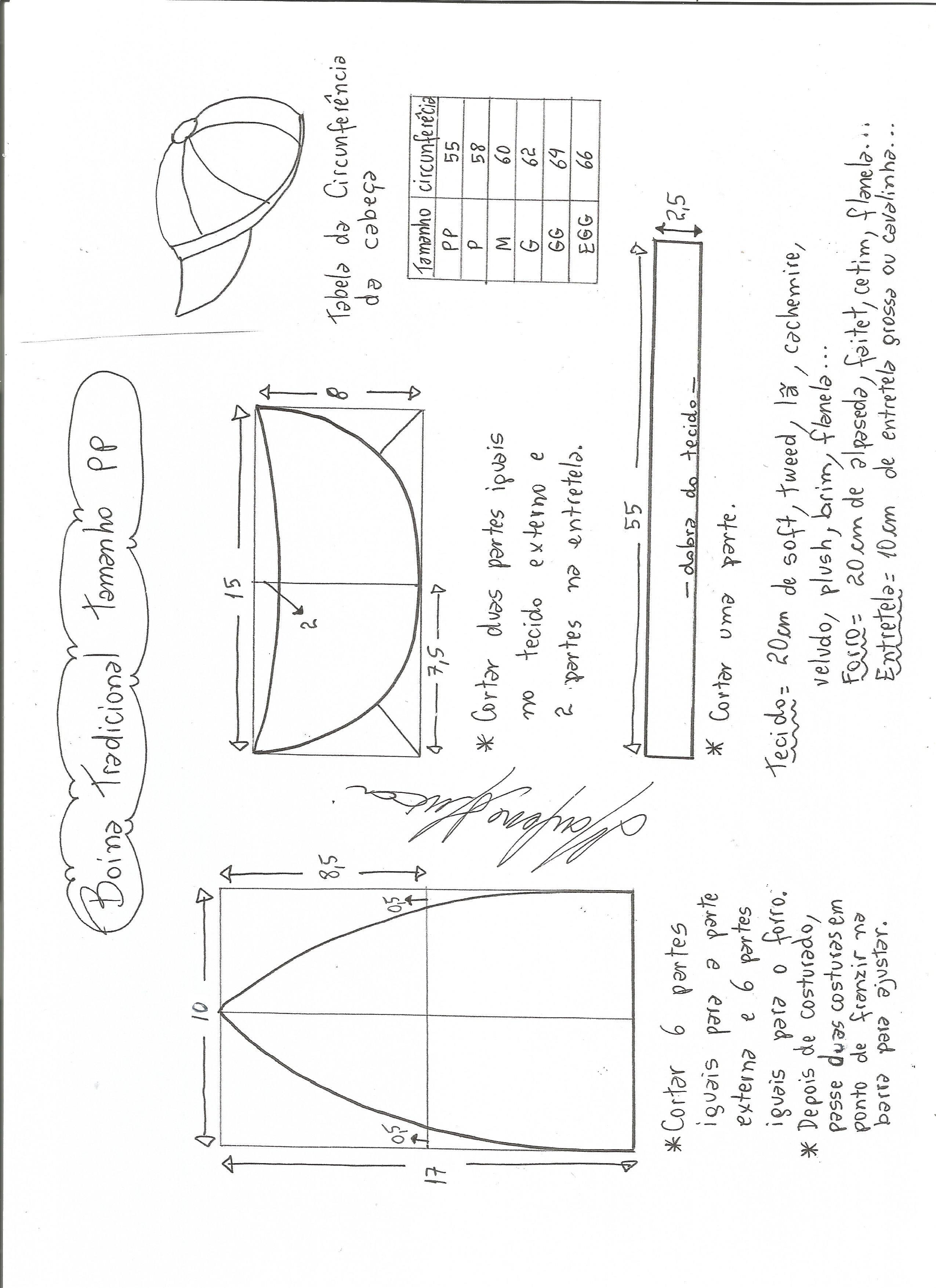 Esquema de modelagem de boina tradicional tamanho PP. Molde Infantil 189553a0d1a