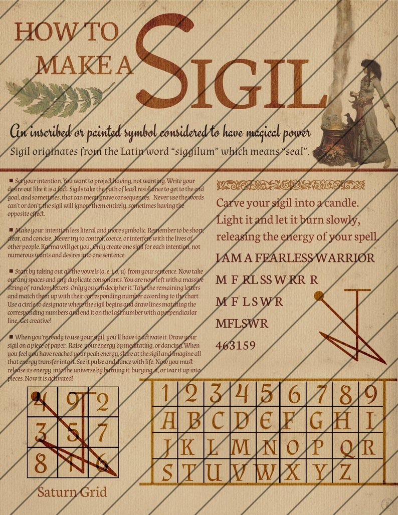 Book of Shadows Pages, How to Make a Sigil, Digital Download, Grimoire Pages, Astrology, Instant Download, Moon Phases