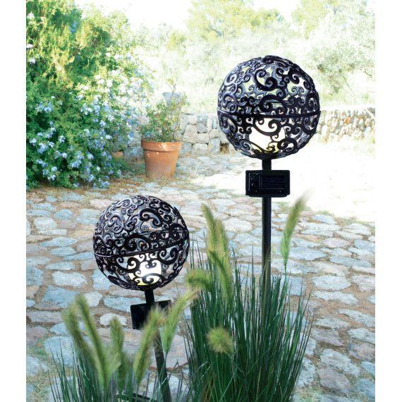 Solarleuchten Set, 2-tlg Moon, spritzwassergeschütztes Gehäuse - solarleuchten garten antik