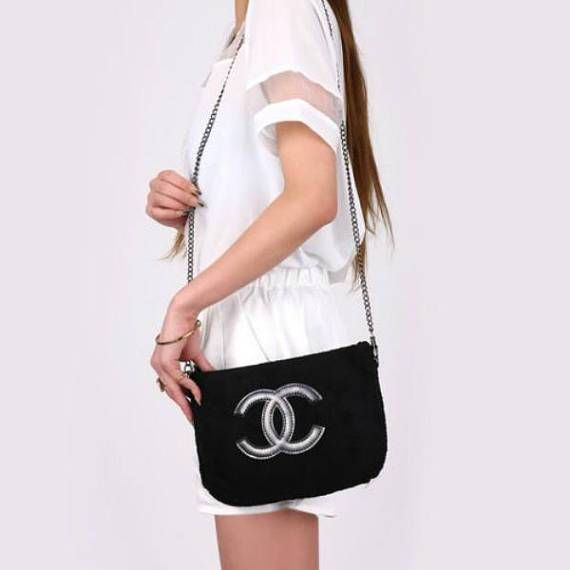 ac5883ab1bfa35 CHANEL Precision CC Logo VIP Gift Black Velour Chain Bag Shoulder ...