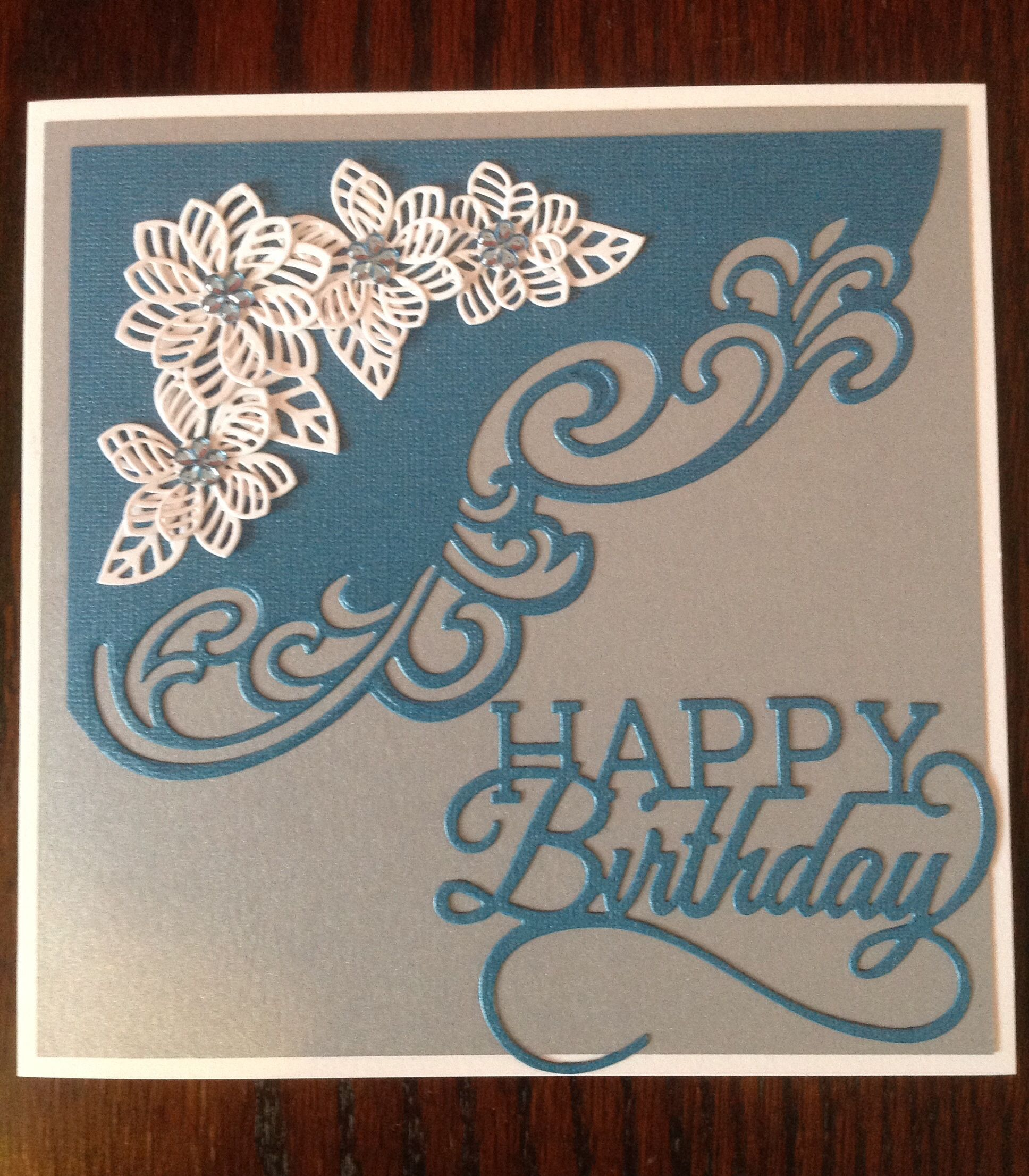 Birthday card using sue Wilson Lyra and faux quilled blooms dies with tonic dies everyday sentiments birthday greeting