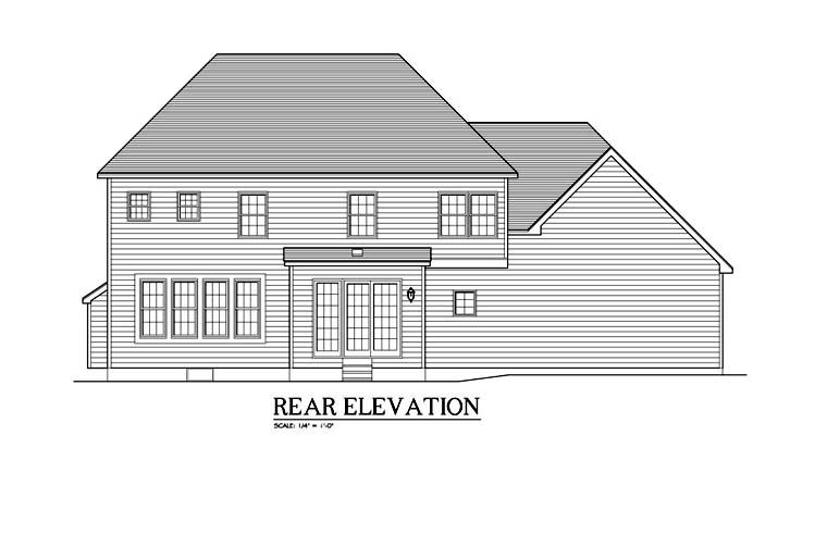 Traditional Rear Elevation of Plan 54137