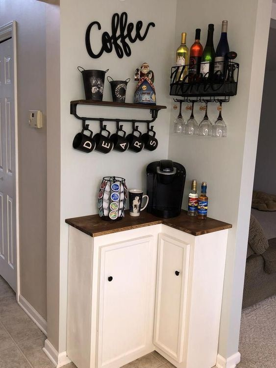 100 besten DIY Coffee Station Ideen für alle Kaffeeliebhaber - - #coffee #DIY #diyh ... - #alle #besten #coffee bar design small spaces