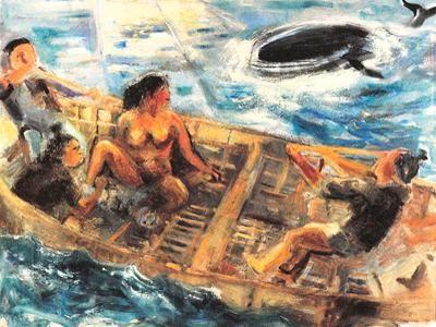 Hans Lynge Kvinden Der Var Gift Med En Hval 1981 Olie Pa Laerred Lynge America Painting