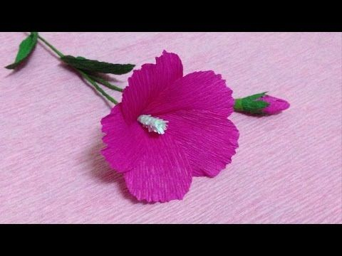 How to make mallow crepe paper flowers flower making of crepe paper how to make mallow crepe paper flowers flower making of crepe paper paper flower tutorial youtube mightylinksfo