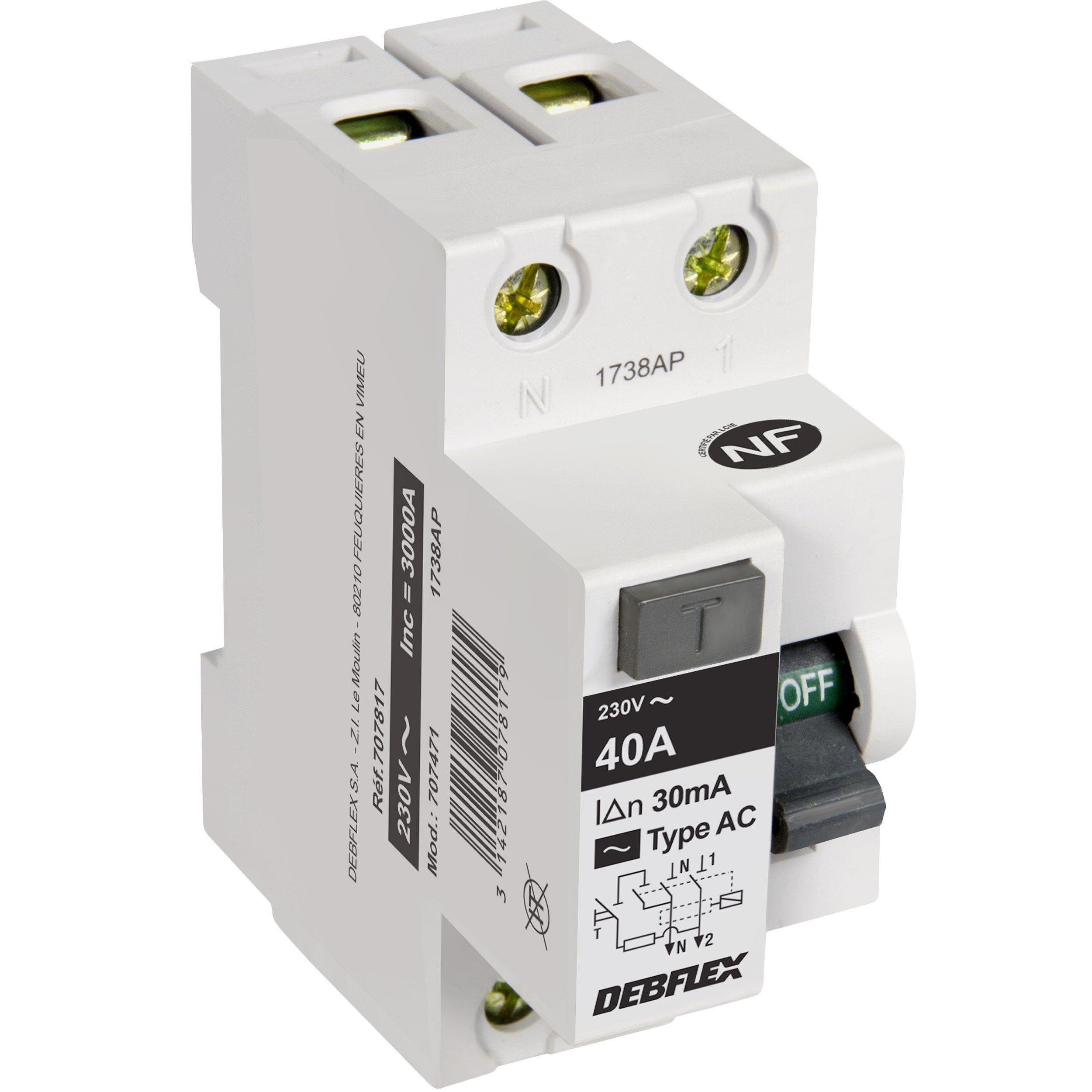 Interrupteur Différentiel Debflex 30 Ma 40 A Ac