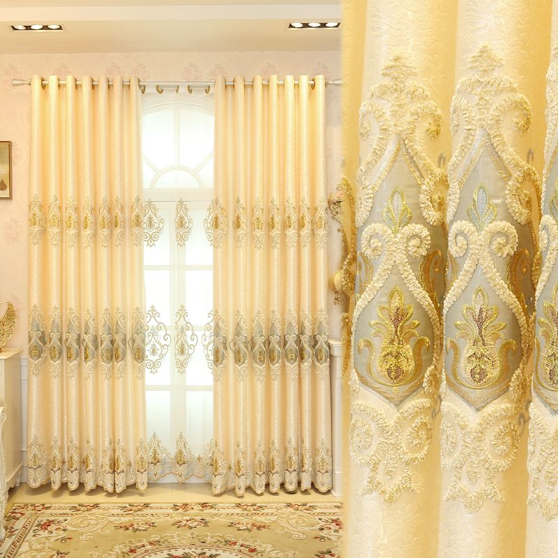 2017 New European Style Elegant Curtain Living Room Home Embroidered  Curtains Luxury European Line And