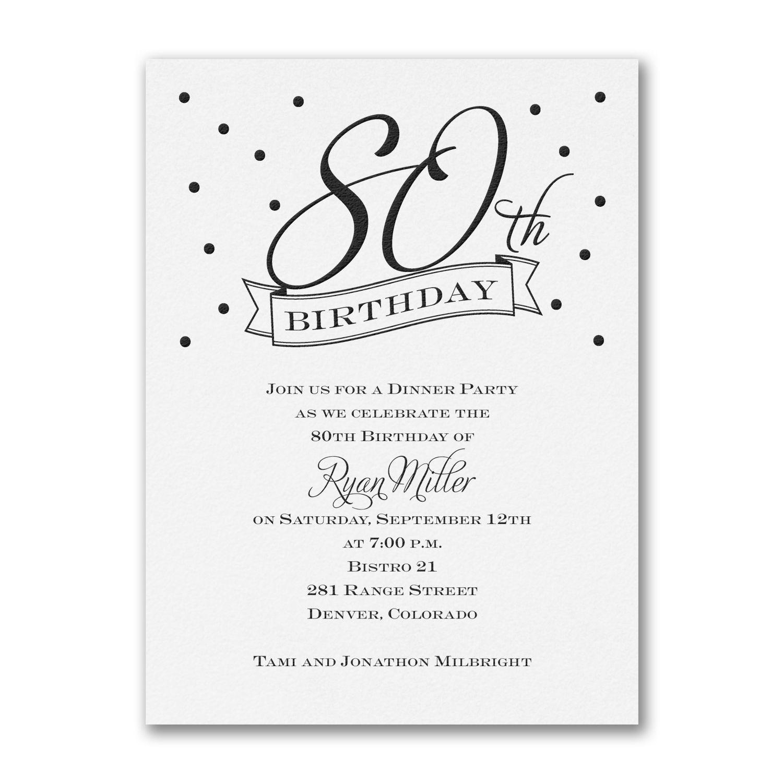 80th Confetti Birthday Invitations Http://partyblock