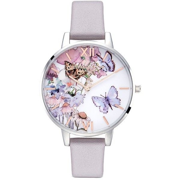 Olivia Burton 'Painterly Prints' Butterfly print 38mm watch (817.610 IDR) ❤ liked on Polyvore featuring jewelry, watches, olivia burton, stainless steel wrist watch, butterfly watches, floral watches and stainless steel jewelry