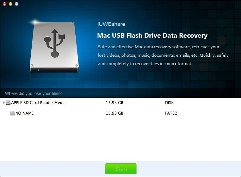 Iuweshare mac usb flash drive data recovery can restore