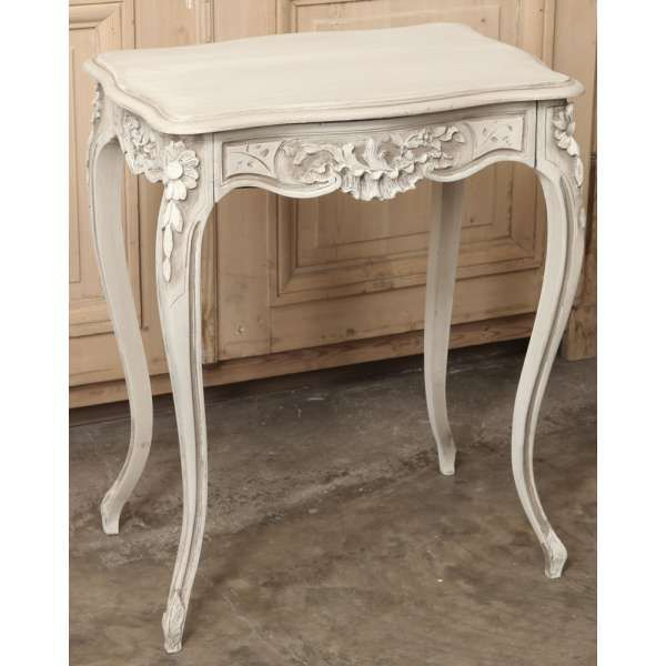 Beau Antique Painted Furniture | Antique Occasional Tables | End Tables | Antique  French Louis XV Walnut Painted End Table | Www.inessa.com