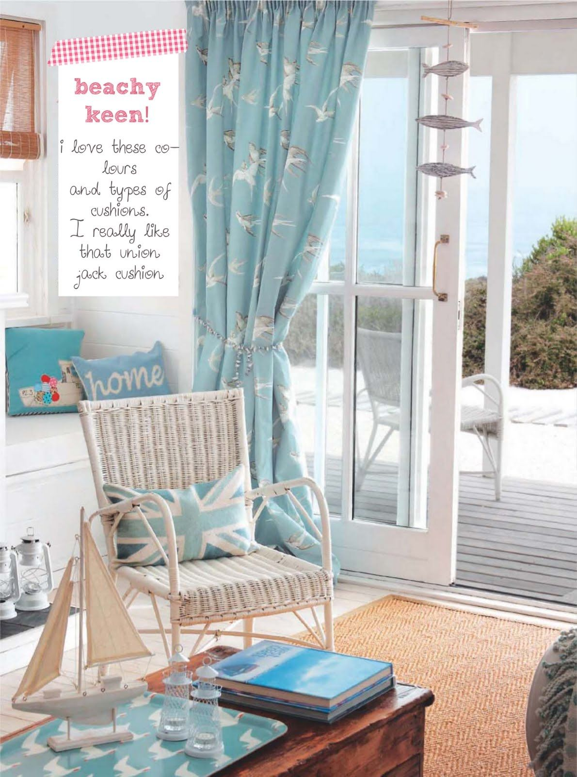 Inspiring Interiors Blues Creams And Coastal Style Beach Style Curtains Beach Cottage Decor Decor