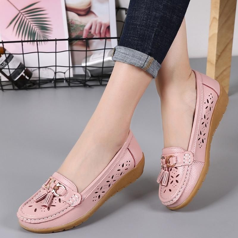 Brown -2, US:6.5 Womens Leather Loafers Casual Round Toe Chunky Heel Summer Moccasins Flats Pump Shoes