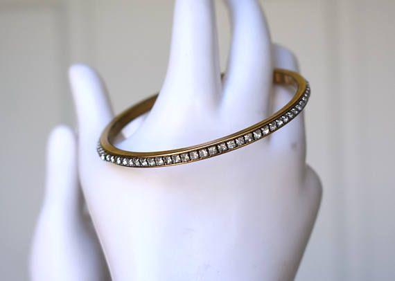Napier Rhinestone Gold Tone Bangle Vintage #Vintage #Jewelry #Fashion #GiftForHer #CostumeJewelry #SignedNapier #RhinestoneBangle #NapierRhinestoneBangle