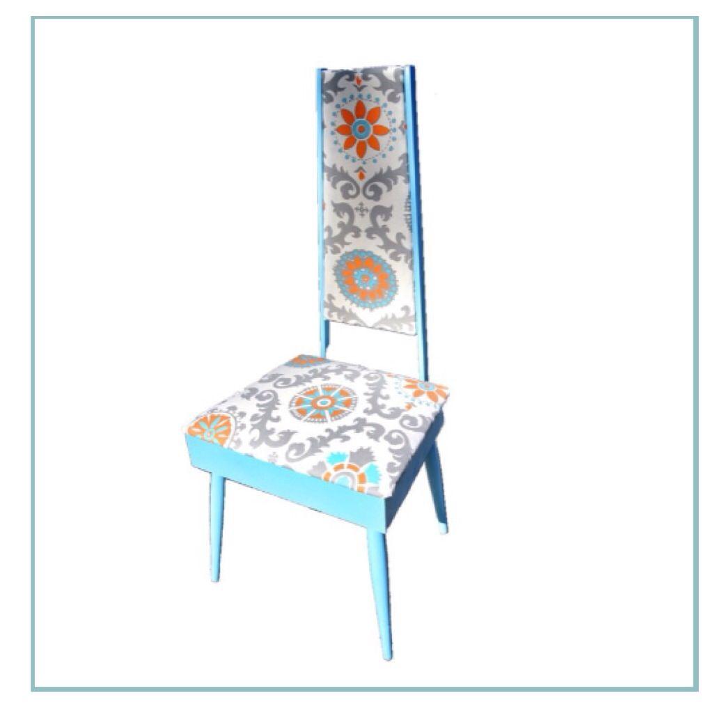 Turquoise ikat chair - Blue Orange Ikat Chair