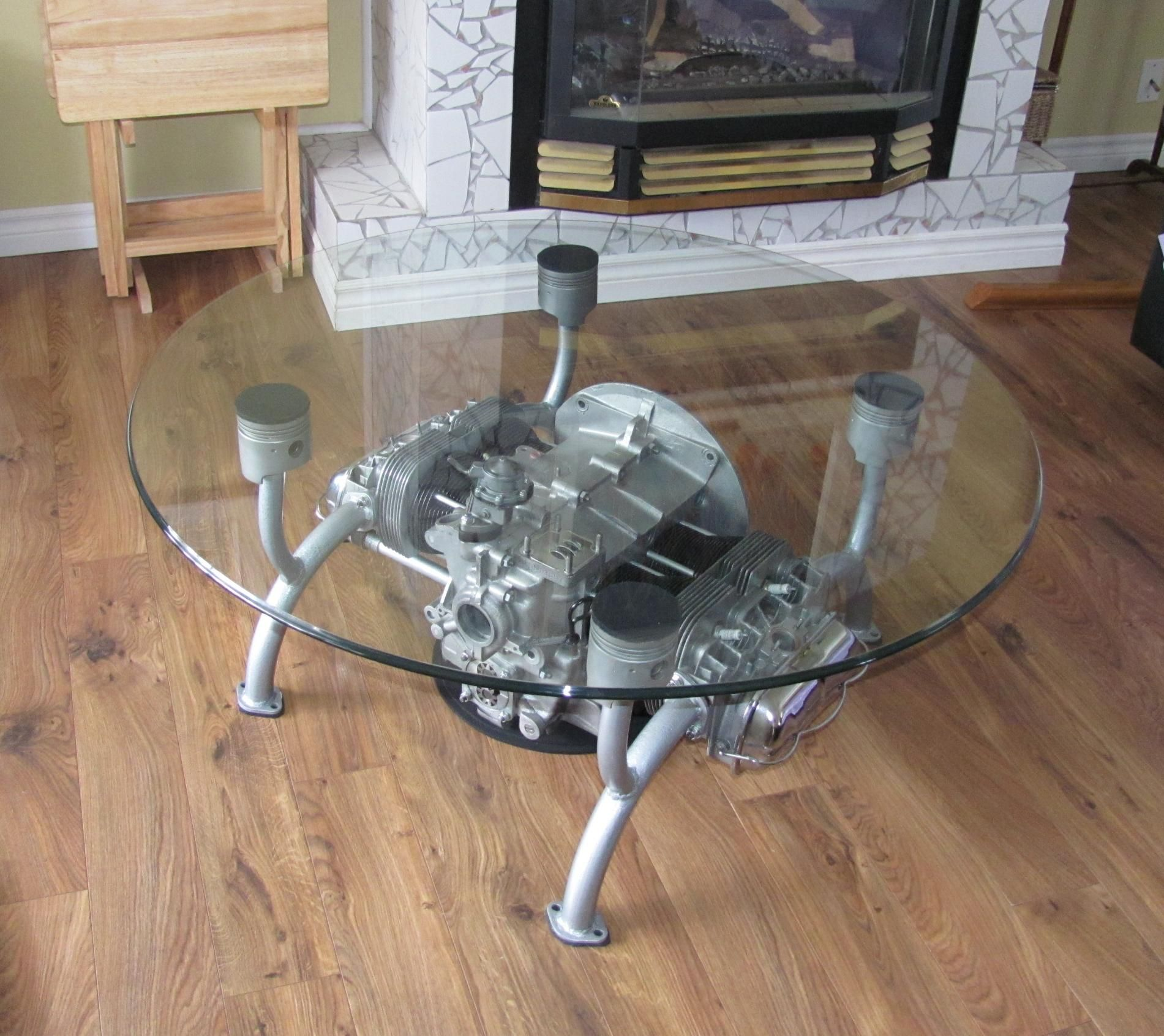 Vw motor table things made out of car motorcycle parts for Engine parts furniture