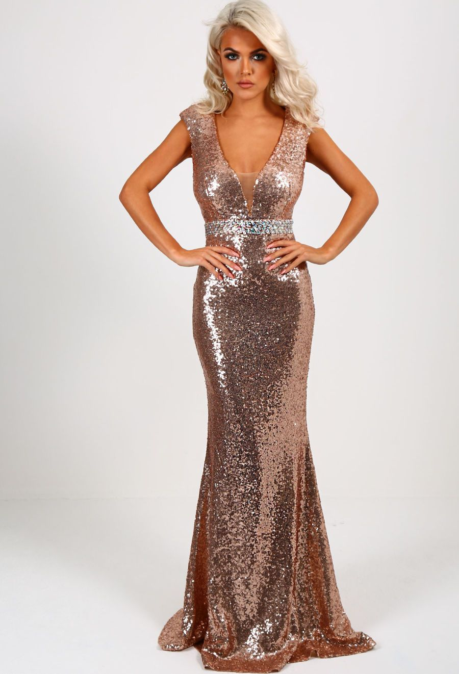 Rose gold sequin maxi dress uk
