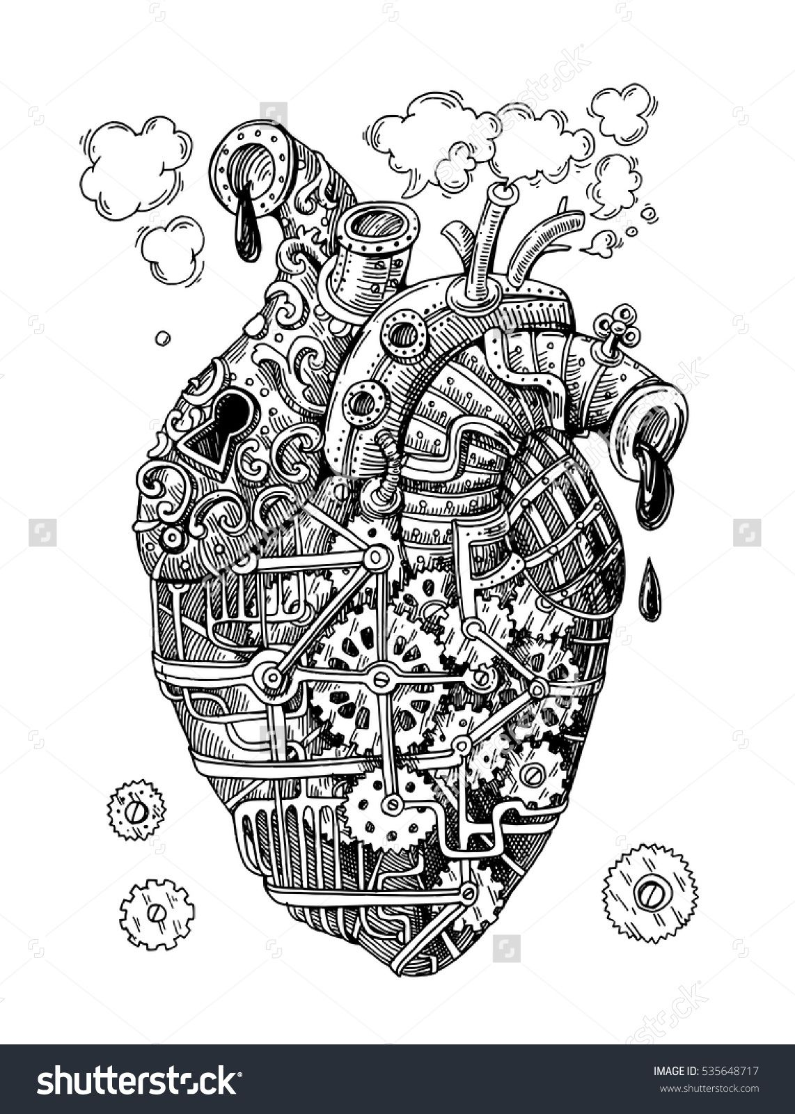 Illustration Mechanical Heart Hand Drawn Vector