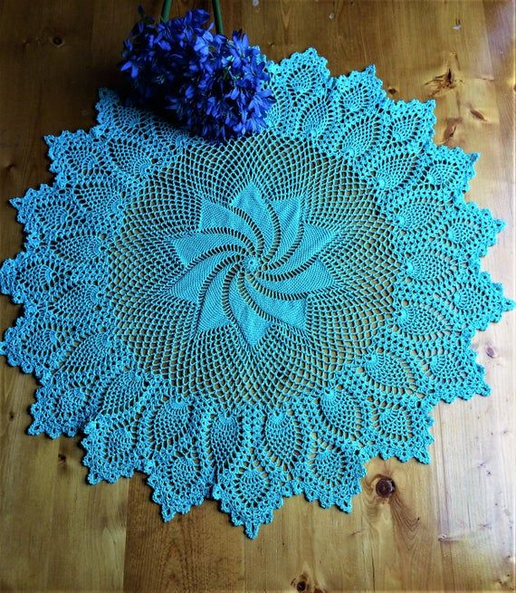 Aqua Christmas Tree Skirt: Crochet Doily; Pinwheel Pineapple Doily; Table Topper