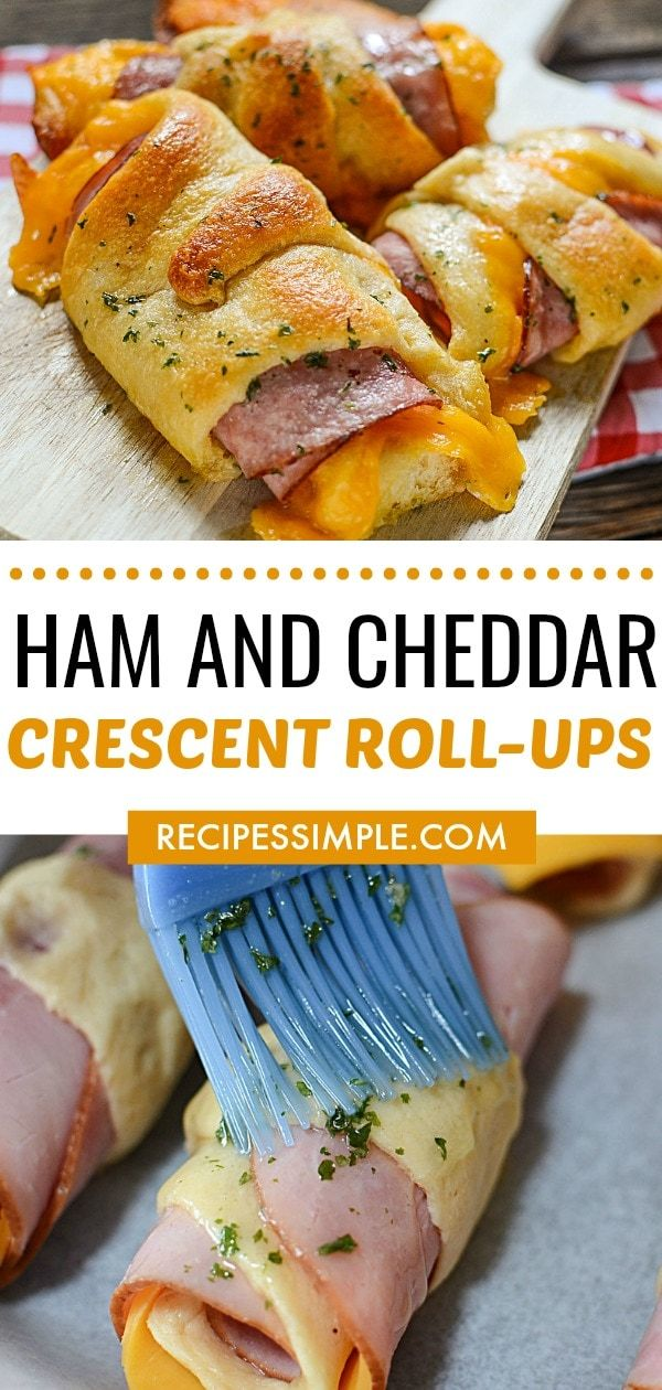 Ham And Cheddar Crescent Roll-Ups #easydinners
