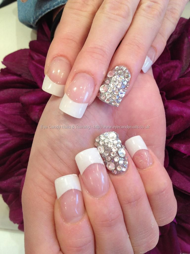 White Tips With Acrylic Overlays And Swarovski Crystal