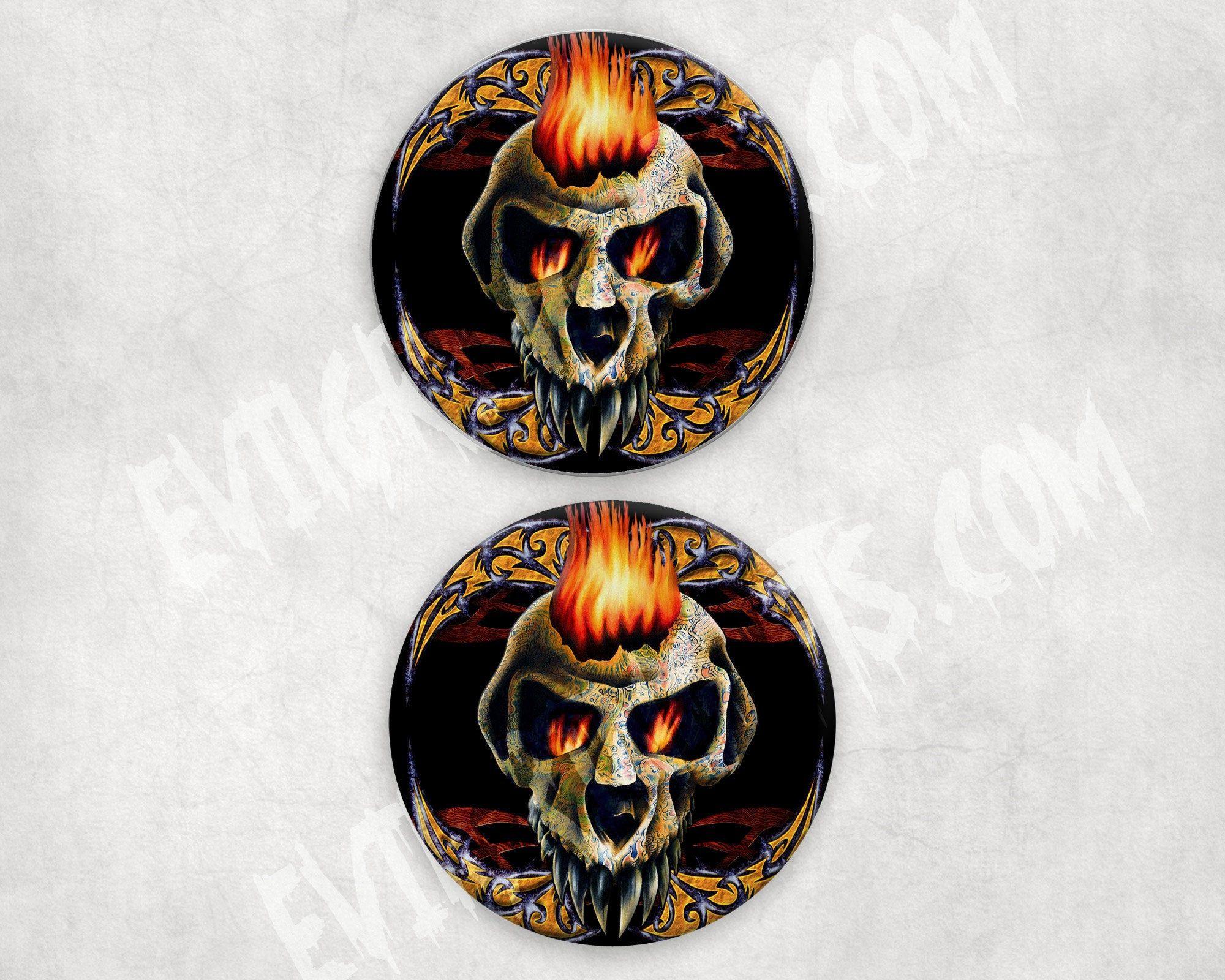 Tattooed Skull Coaster Set Flaming Skull Absorbent Corked