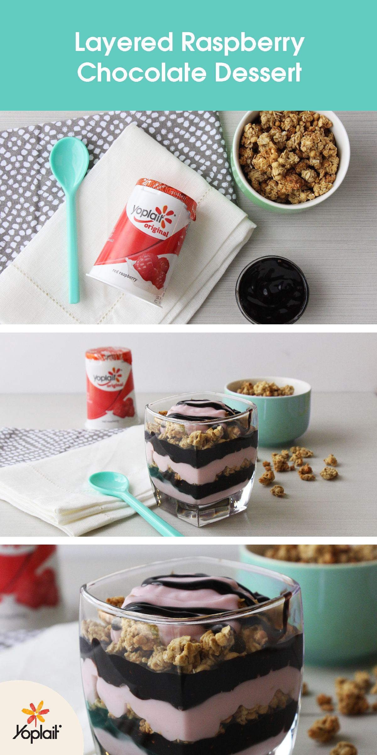 This Layered Raspberry Chocolate Dessert from Katie Quinn is the dreamiest must-try snack hack around. Make your own by layering a glass with chocolate syrup, granola and Yoplait Original Red Raspberry yogurt. Repeat until the glass is full and enjoy!