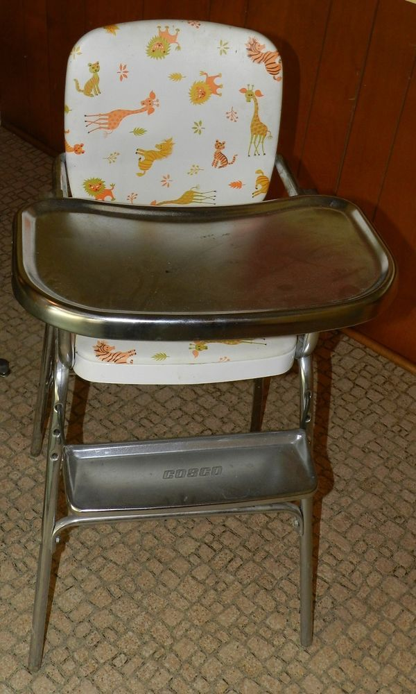 Vintage Cosco Folding High Chair Stainless Tray W Animal Giraffe