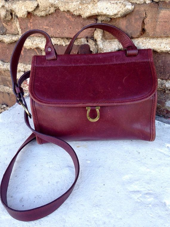 Vintage Aigner Etienne Genuine Leather Classic Oxblood Maroon Soft Purse Bag  Messenger Cross Body 80s Small Adjustable Strap Hipster Brass b87d55cc3354b