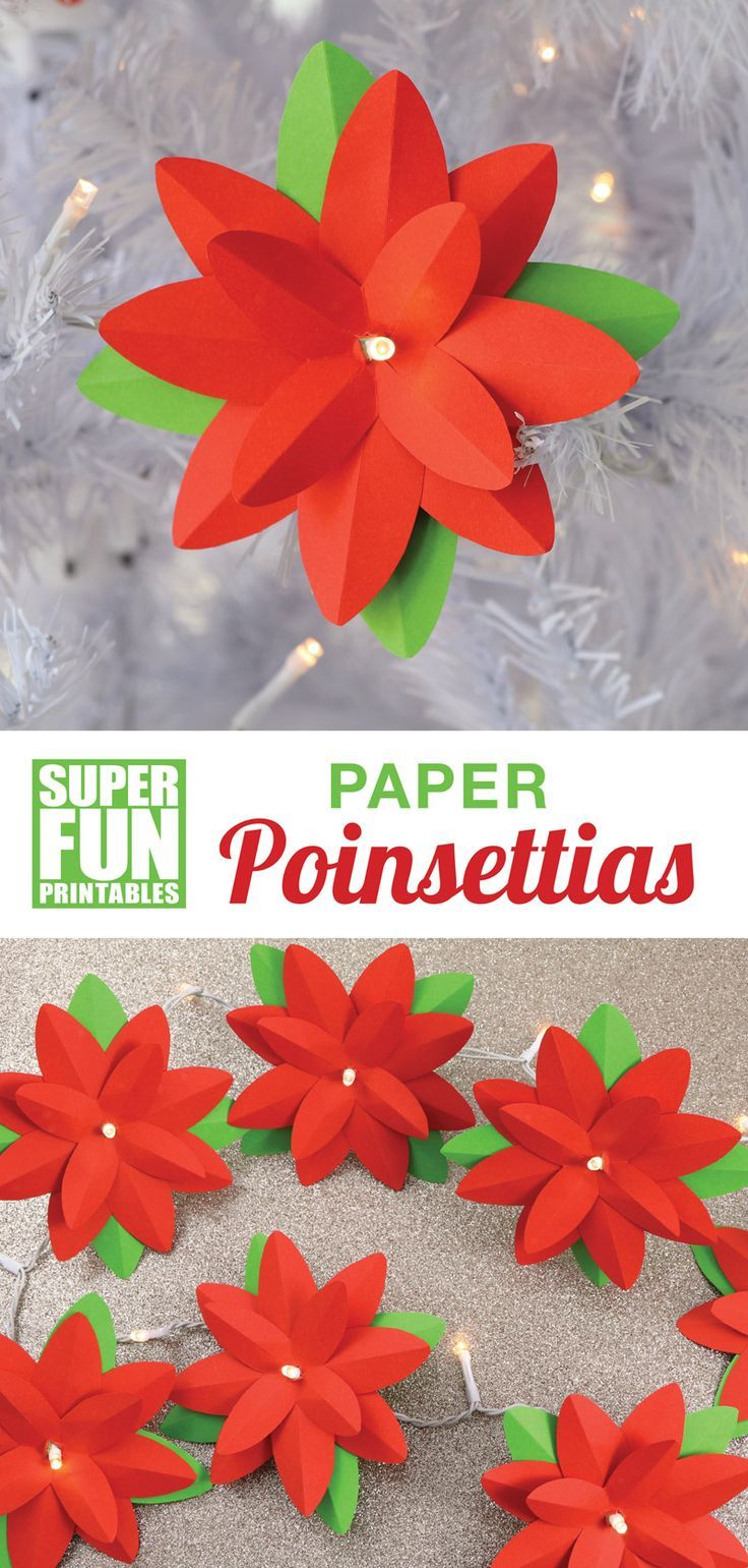 Paper Poinsettias Christmas Paper Crafts Poinsettia Flower Christmas Crafts Diy