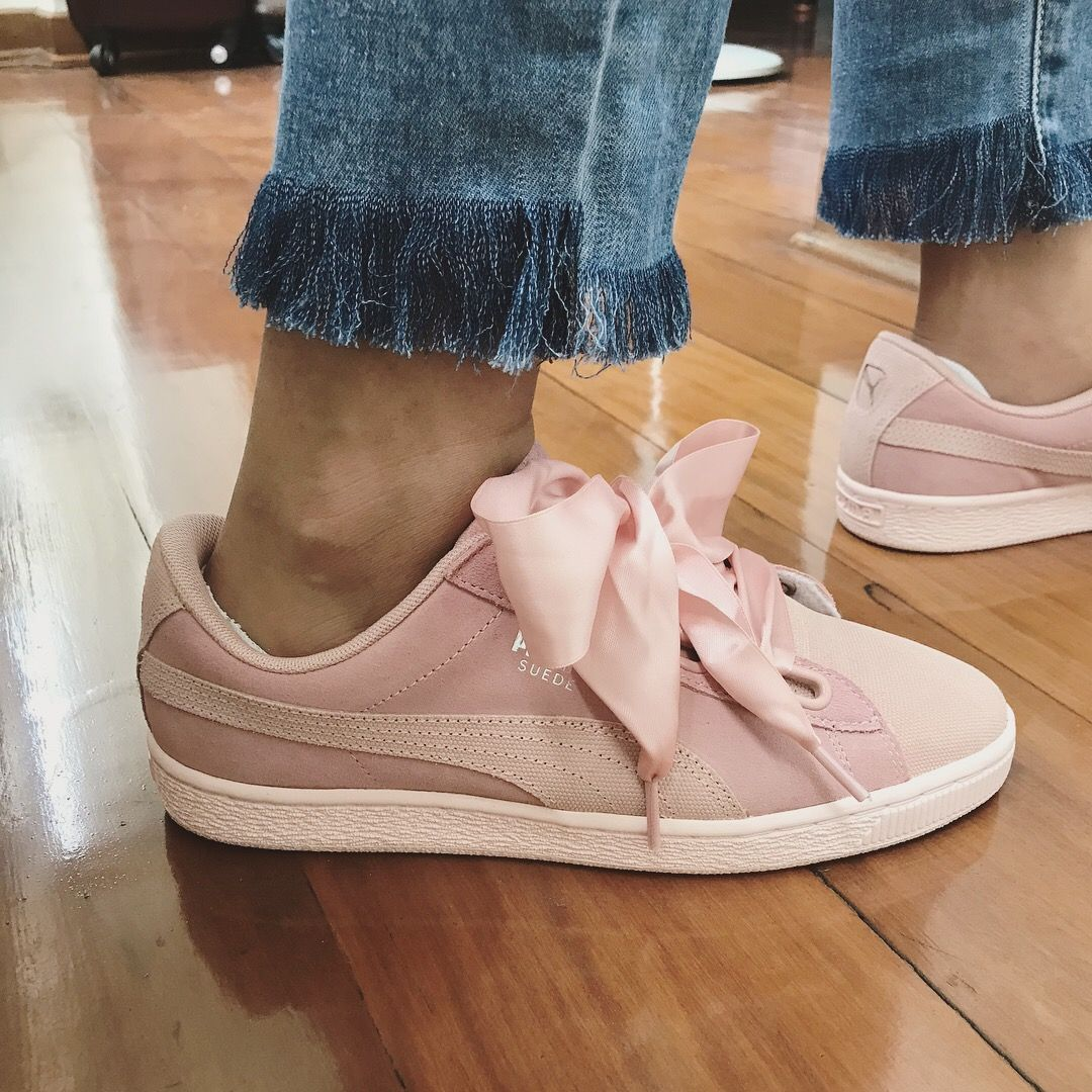puma basket heart peach
