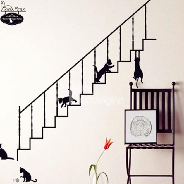 New Arrival Lovely Black Cat And Ladder Wall Stickers Wallpaper Stairs Wall Stickers Home Sticker Decor