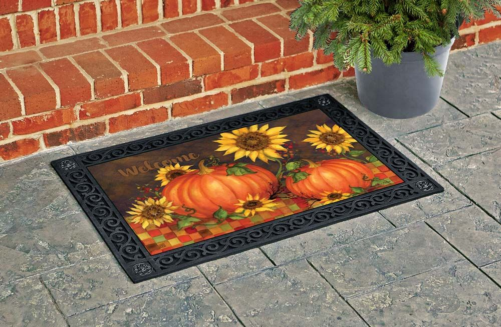 Indian Summer Decorative Welcome Matmates Doormat Insert Features Large Yellow Sunflowers And Orange Pumpkins Be Front Porch Decorating Door Mat Indian Summer