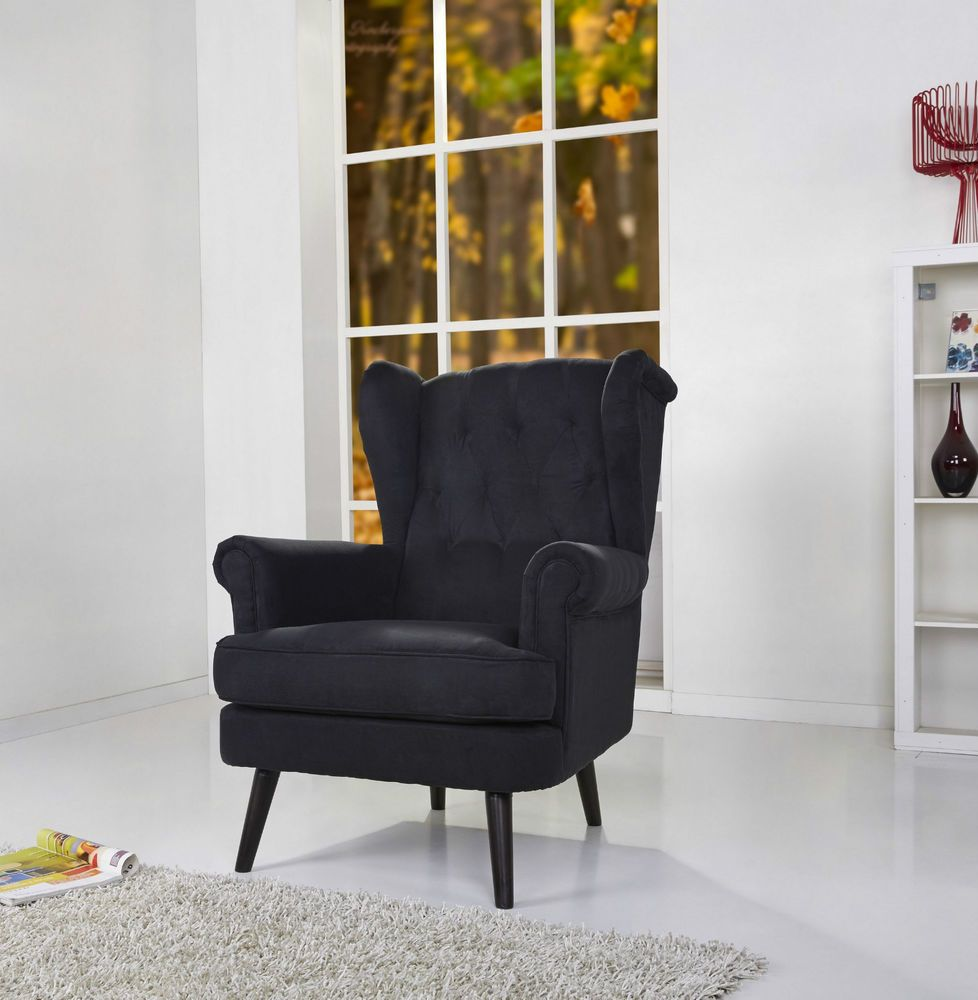 Monroe armchair grey black victorian high wing