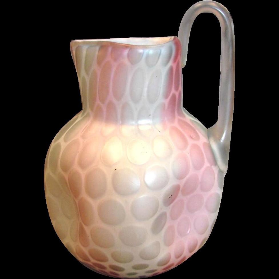 American Boston and Sandwich Art Glass Pitcher Nicholas Lutz Rainbow Raindrop Satin Mother-of-Pearl MOP c 1870 - 1880
