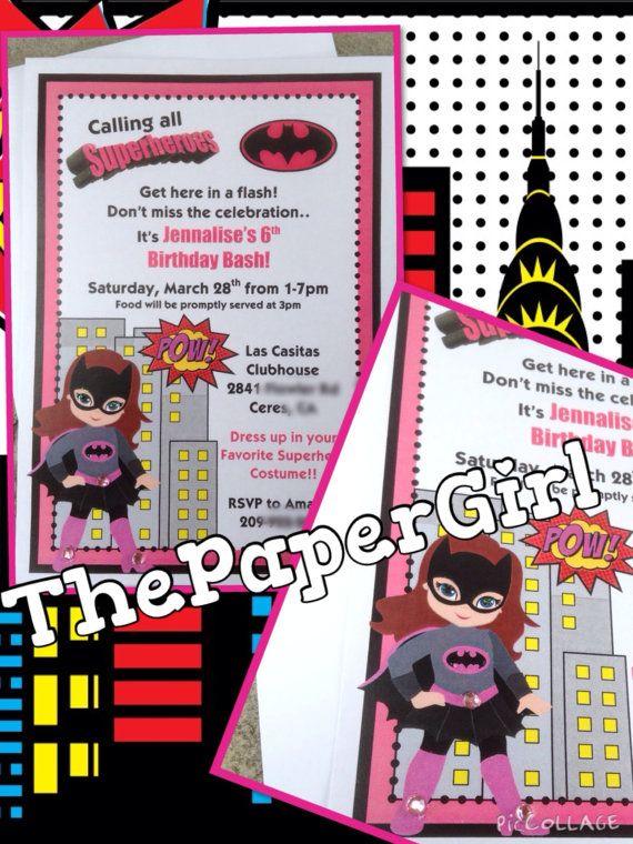 set of 10 Batgirl Superhero Panel card invitation Birthday Party Baby Shower $19.50