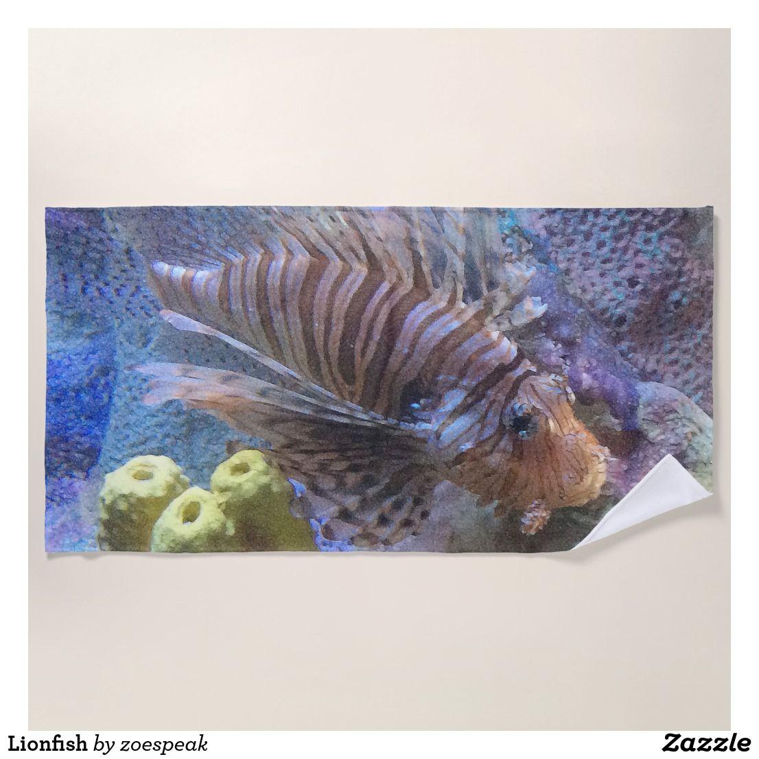 Lionfish Beach Towel Zazzle Com Lion Fish Custom Beach Towels Beach Towel